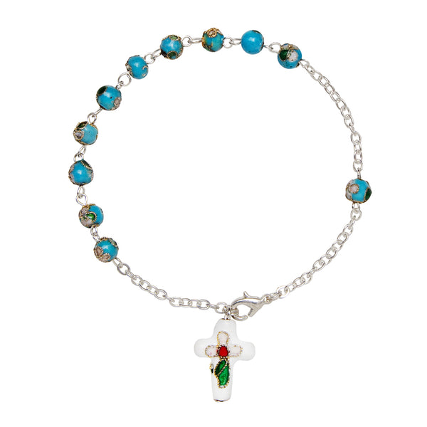 Light blue cloisonné rosary bracelet