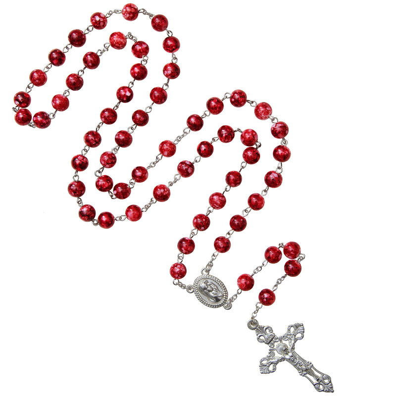 Red marble rosary metal