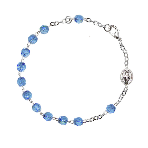 Blue crystal silver rosary