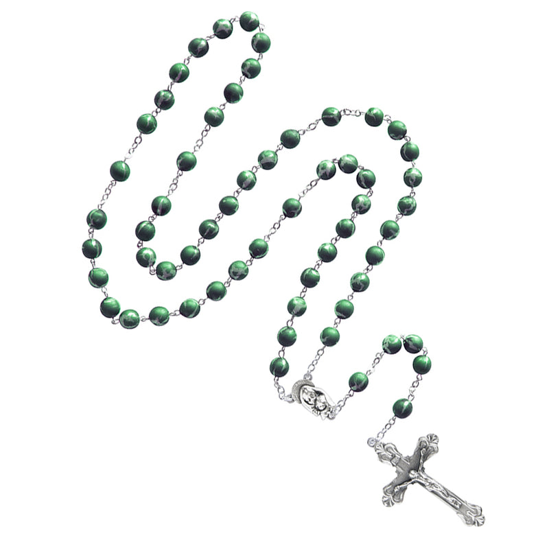 Green glass metal rosary