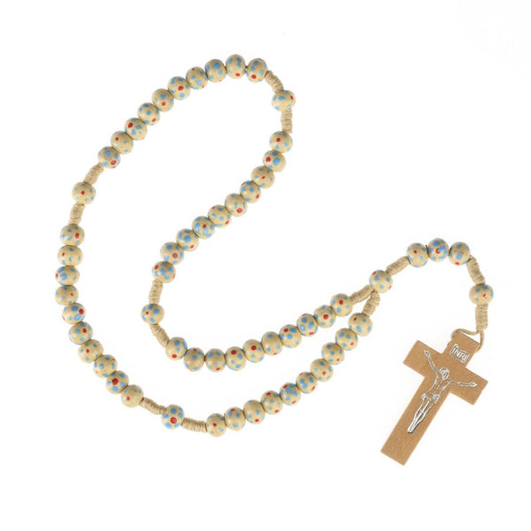 Children's rosary in natural wood