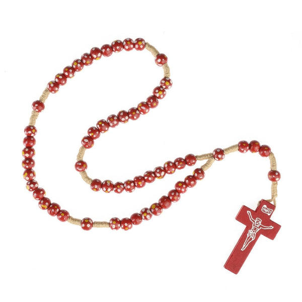 Children's rosary in red wood