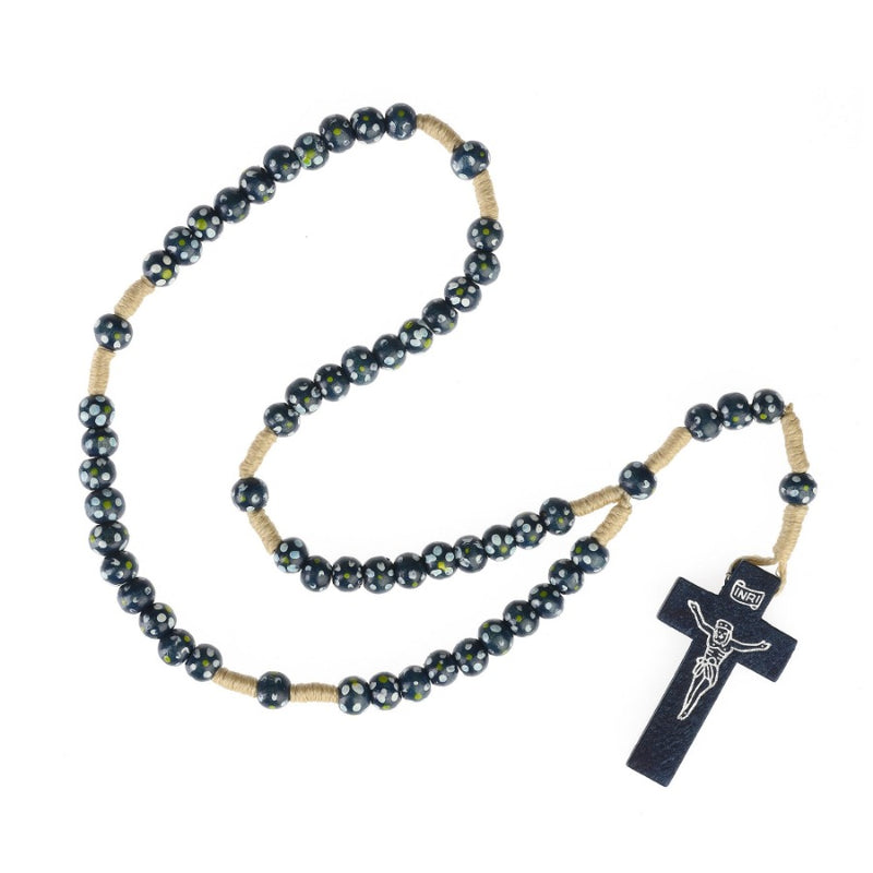 Children's rosary in blue wood