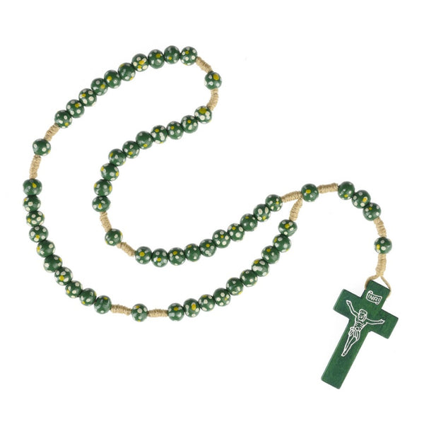 Children's rosary in green wood