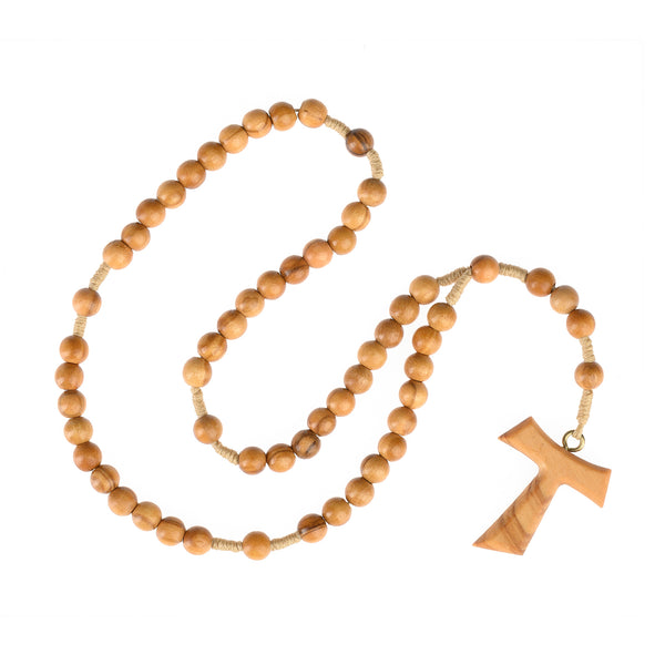 Tau rosary in olive wood