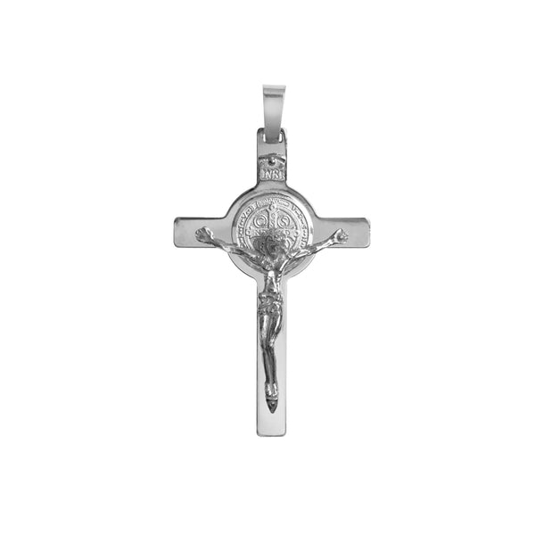 Sterling silver st benedict crucifix pendant
