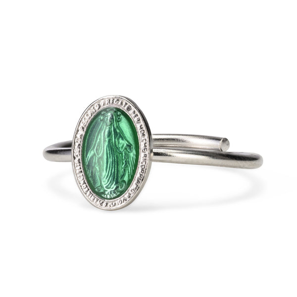 GREEN MIRACULOUS MEDAL RING - SILVER