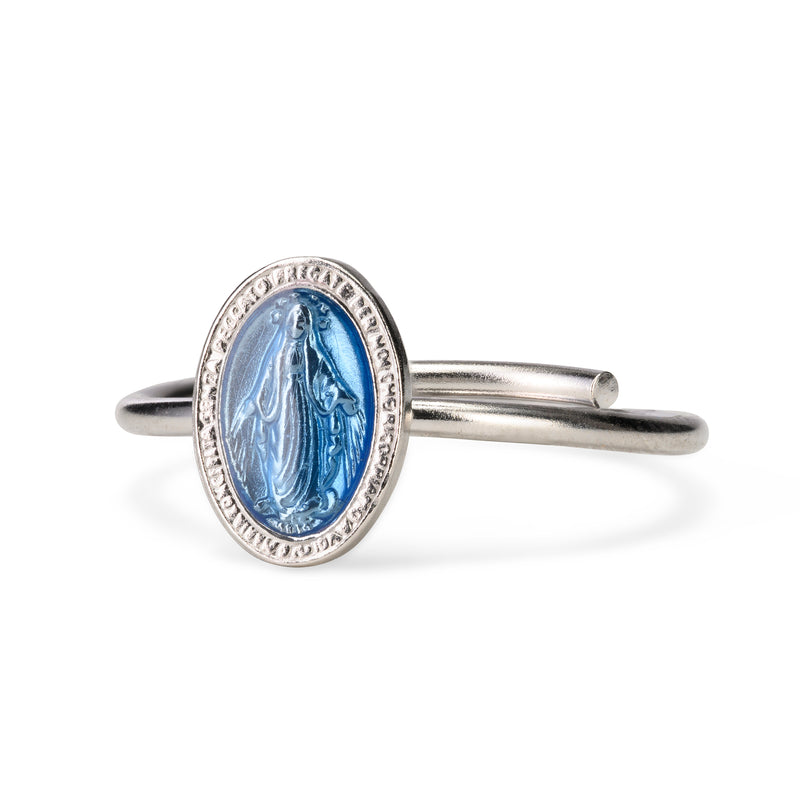 BLUE MIRACULOUS MEDAL RING - SILVER