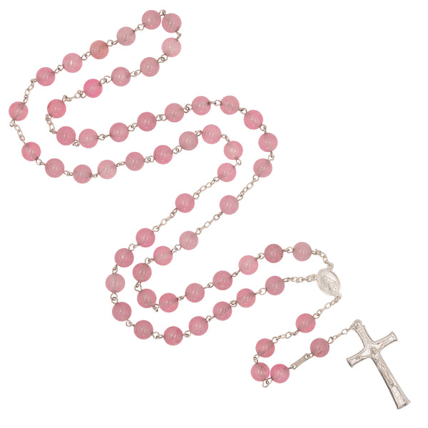 ROSARY BEADS - PINK QUARTZ AND SILVER