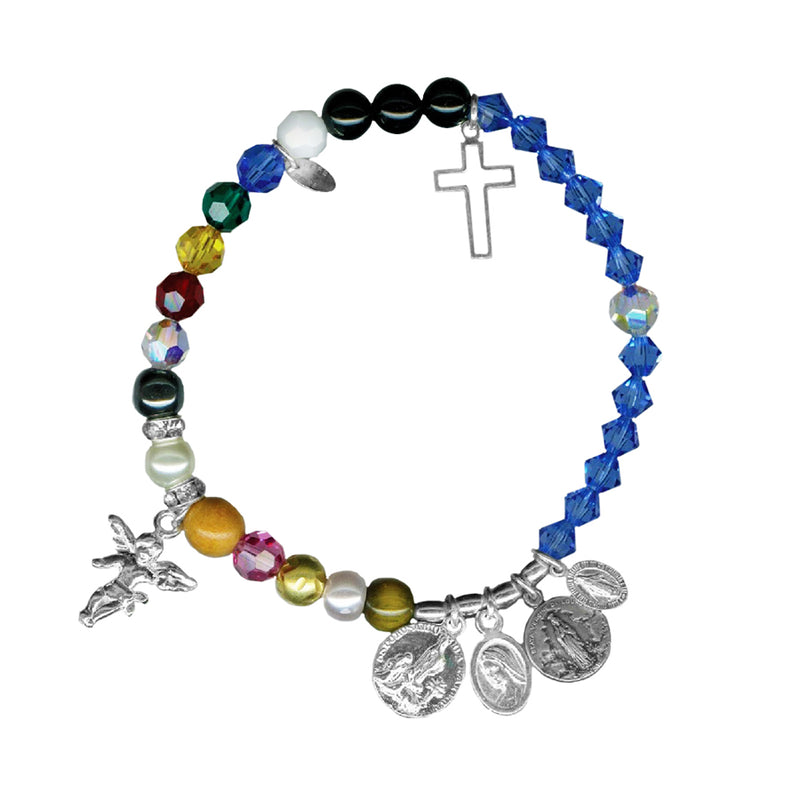 religious christmas holiday Mary baby paper bead bracelet 7 inch