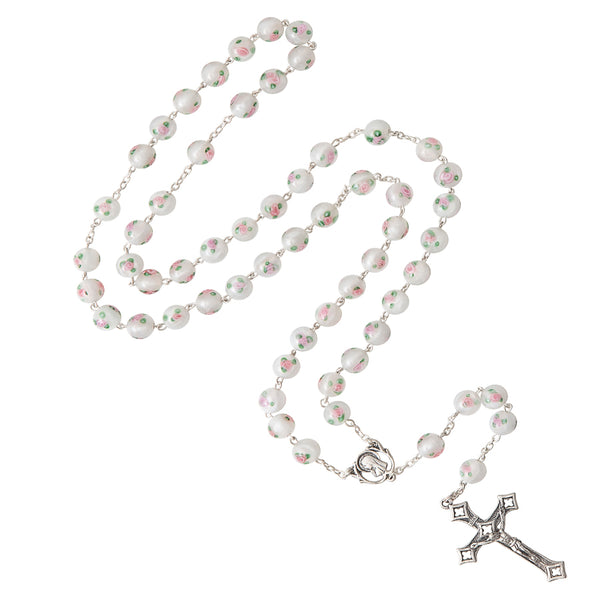 WHITE MURANO GLASS ROSARY - SILVER
