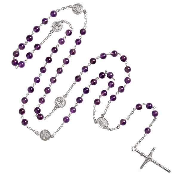 amethyst rosary silver with basilicas