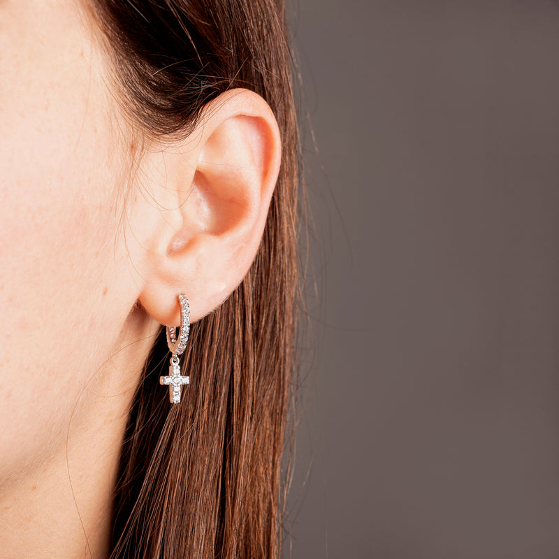 CROSS HOOP EARRINGS - SILVER - ZIRCONIA