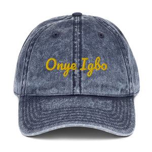 Onye Igbo yellow embroidered text Vintage Cotton Twill Cap