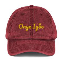 Load image into Gallery viewer, Onye Igbo yellow embroidered text Vintage Cotton Twill Cap