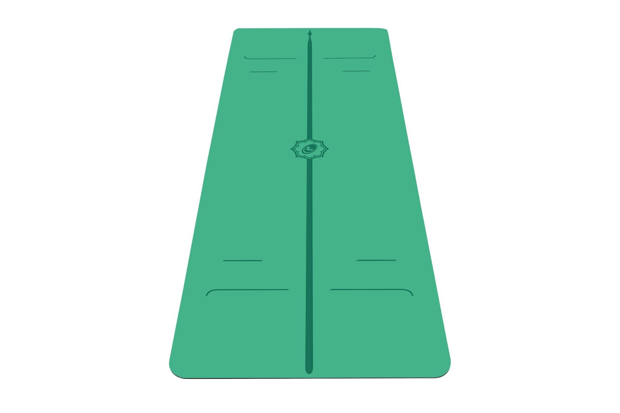 Portrait view of green Evolve Yoga mat from Liforme