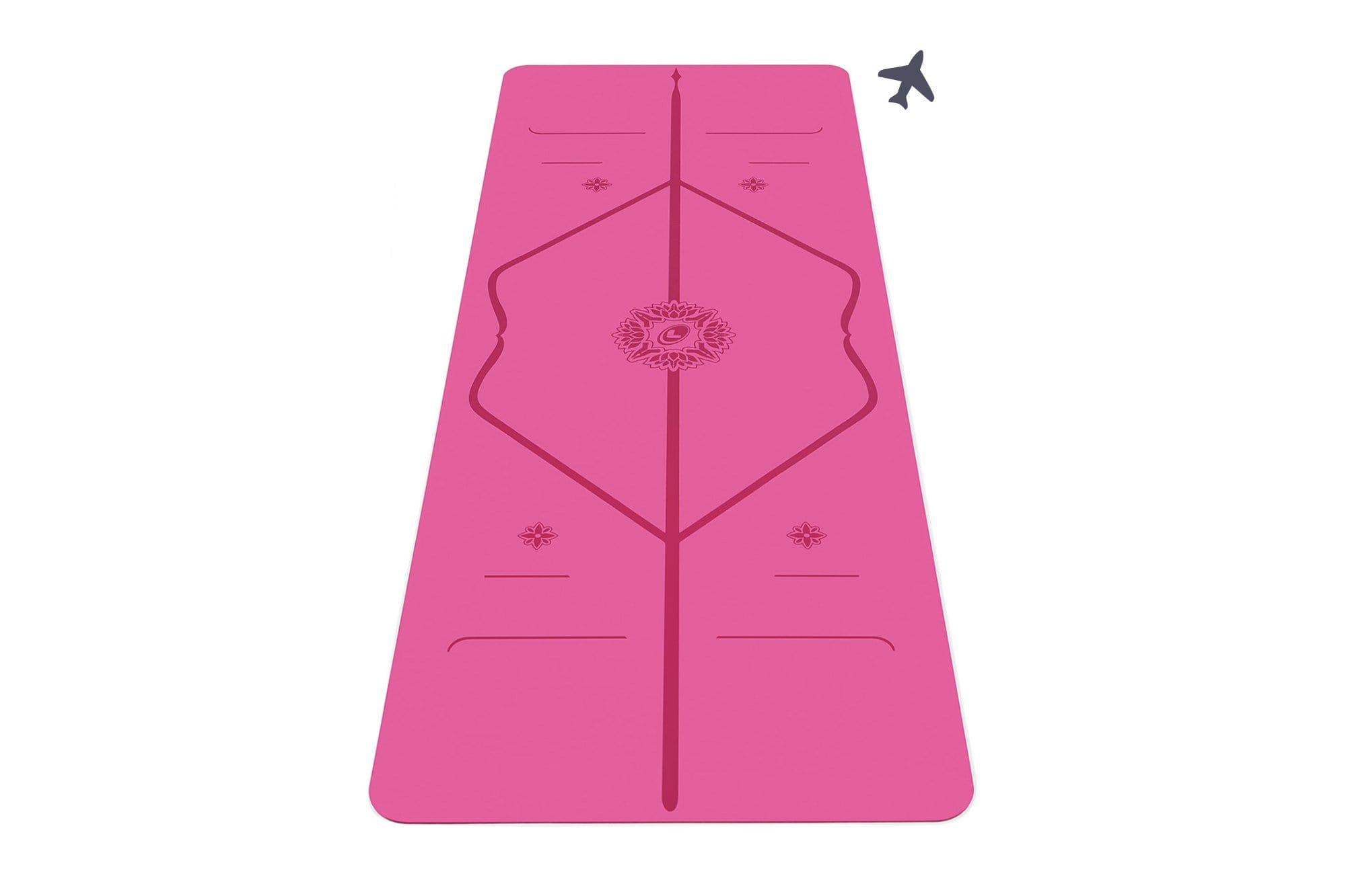 Potrait view of Gratitude pink travel yoga mat from Liforme