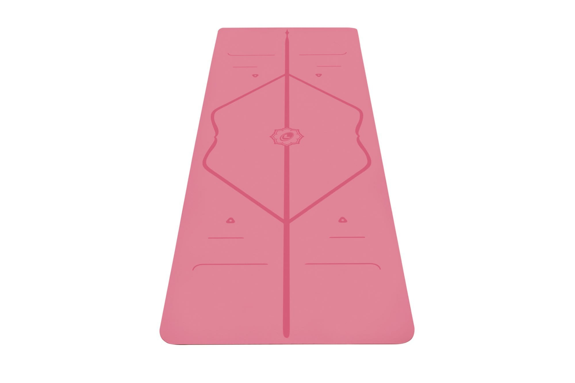 Portrait view of pink Yoga mat from Liforme