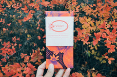 Internationally award winning Pomegranate and Turmeric flavoured 78g chocolate bar from Edmonton based The Violet Chocolate Company