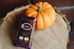 Product image of the internationally award winning Pumpkin Chai flavoured chocolate bar from Edmonton's The Violet Chocolate Company