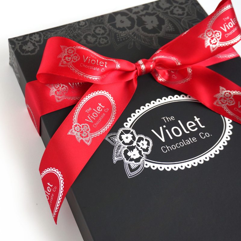 Image of the Valentine Bar Box Gift from The Violet Chocolate Company. Each gift box includes three big bars and two small bars from the 2019 Valentine Collection, based in Edmonton, Canadian national shipping available