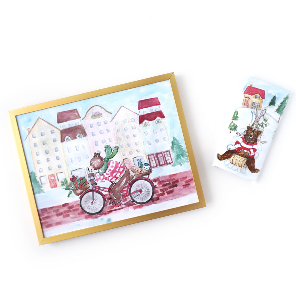 A Beary Merry Pair featuring artwork illustrated by Fenwick & Co and Ginger Clover chocolate bar by The Violet Chocolate Co. based in Edmonton, Alberta, Canada