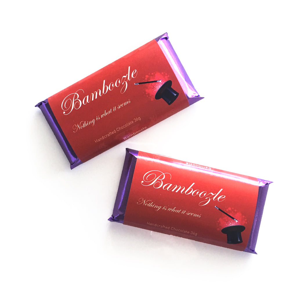 Bamboozle charity bar; salted milk chocolate with a lemon meltaway center with a portion of proceeds going to Youth Empowerment Support Services from internationally award winning chocolatier The Violet Chocolate Company based in Edmonton, Alberta, Canada. Designed by Grade 8 Students of Michael Strembitsky School