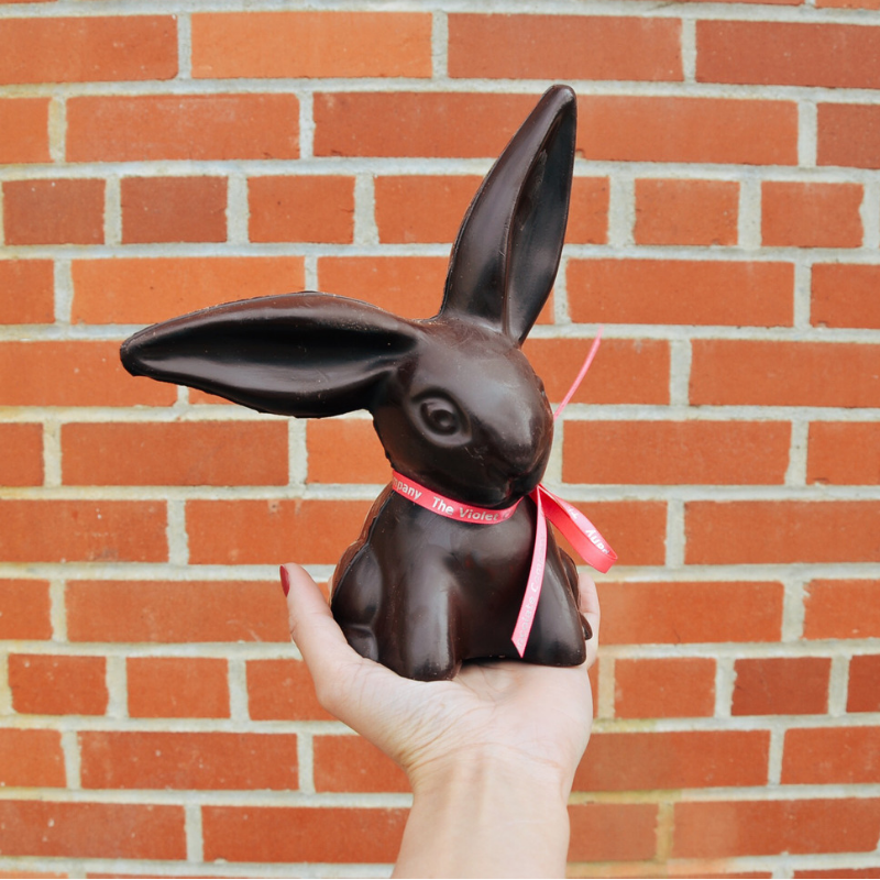 Large chocolate 3D Easter bunny in dark chocolate for the 2019 Easter Collection from internationally award-winning chocolatier The Violet Chocolate Company