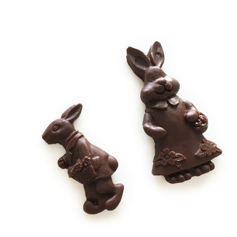 Dark chocolate (dairy free and vegan) Mini Bunny Duo, solid chocolate, from the Easter 2019 Collection from internationally award winning chocolatier The Violet Chocolate Company based in Edmonton, Alberta, Canada