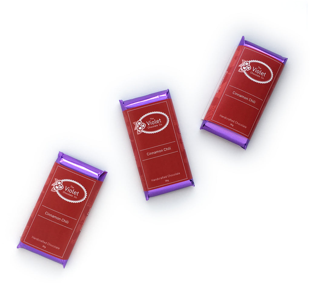 Product image of Violet Chocolate Company Cinnamon Chili 36g 65% dark chocolate bar from the Fall & Winter 2018 Collection