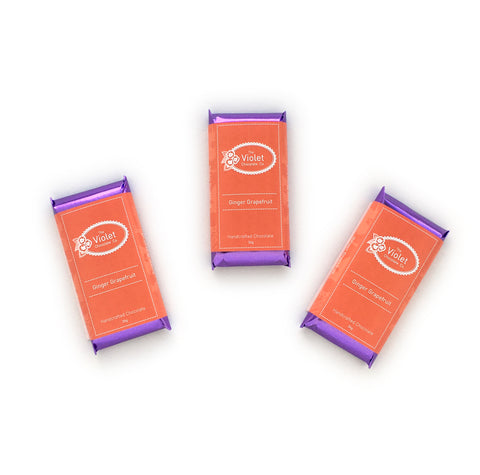 Product image of Violet Chocolate Company Ginger and Grapefruit 36g 64% dark chocolate bar from the Fall & Winter 2018 Collection