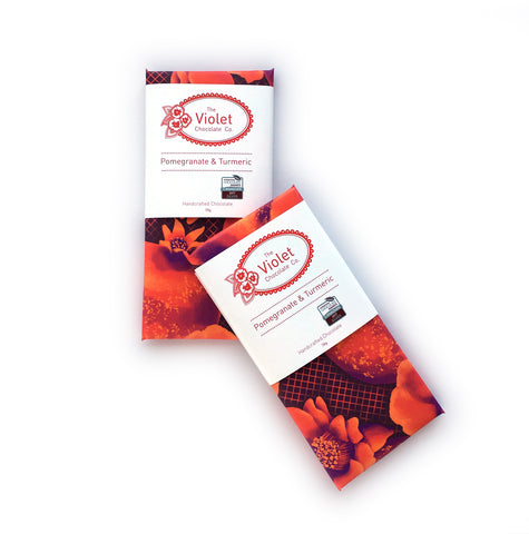 Product image of Violet Chocolate Company Pomegranate Turmeric Canadian International Chocolate award winning 78g white chocolate bar from the Fall & Winter 2018 Collection