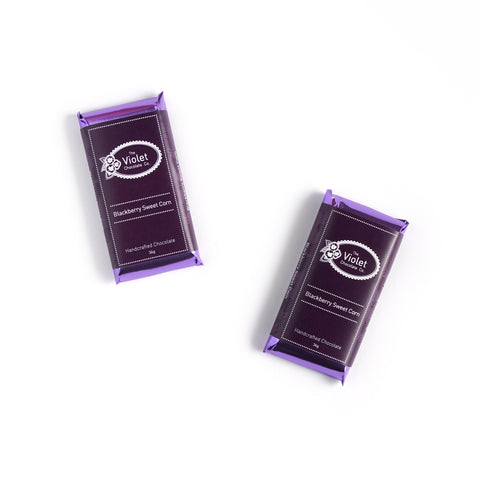 Violet Chocolate Co Fall and Winter white chocolate flavour Blackberry Sweet Corn from international award winning chocolatier Rebecca Grant based in Edmonton Alberta