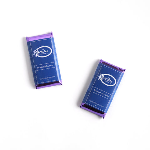 Violet Chocolate Co Fall and Winter dark chocolate and gluten free flavour Blueberry Crumble from international award winning chocolatier Rebecca Grant based in Edmonton Alberta. This flavour is gluten free and vegan