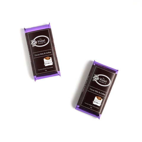 Violet Chocolate Co Fall and Winter dark chocolate flavour Cocoa Nibs and Coffee, awarded silver in 2016 Canadian International Chocolate Awards of  from international award winning chocolatier Rebecca Grant based in Edmonton Alberta