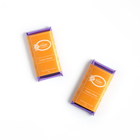 Violet Chocolate Co Fall and Winter white chocolate flavour Cranberry Orange from international award winning chocolatier Rebecca Grant based in Edmonton Alberta