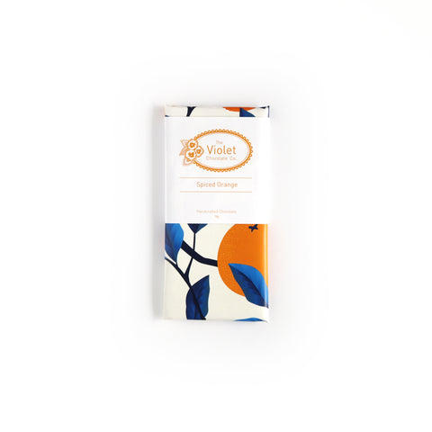 Violet Chocolate Co Fall and Winter dark chocolate flavour Spiced Orange from international award winning chocolatier Rebecca Grant based in Edmonton Alberta. This flavour is dairy-free and vegan.