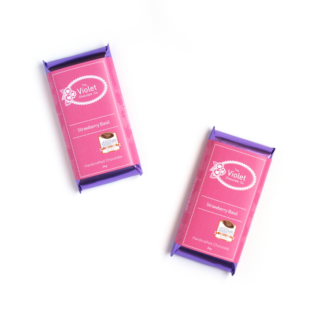 Award winning milk chocolate Strawberry Basil from the Summer 2020 Collection from internationally award winning chocolatier The Violet Chocolate Company based in Edmonton, Alberta, Canada