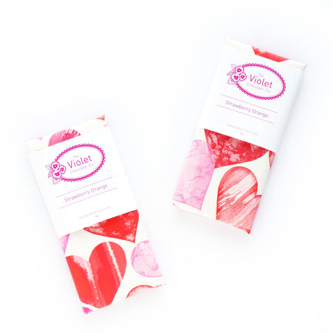 New dairy free Strawberry Orange from internationally award-winning The Violet Chocolate Co. based in Edmonton Alberta Canada, part of The 2019 Valentine Collection