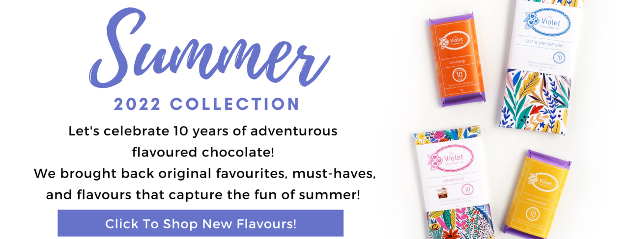Shop the 2020 Limited Edition Holiday Collection from The Violet Chocolate Co. with internationally award winning flavours Gingersnap Cookie and festive favourites Peppermint Biscuit and Ginger Clove with illustration by Shauna Force of Fenwick & Co Formerly of Salgado Fenwick