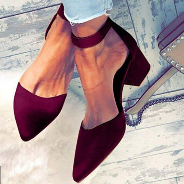 Chaussures Femme Pointe Boucle En Ligne Talons Chunky Loisir Pure