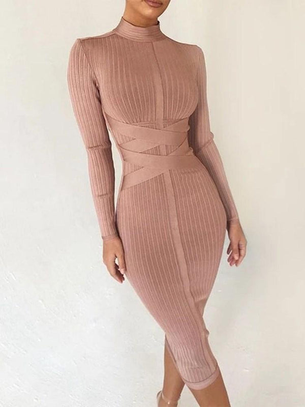 Robe Femme Mi-Mollet Filetage Manches Longues Pull Jupe Crayon