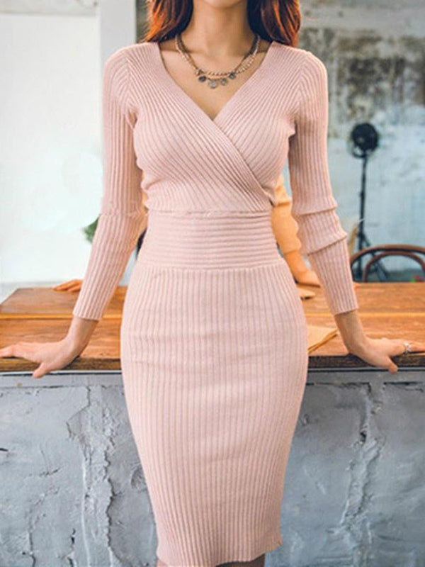 Robe Femme V-Col Neuf Points Manchon Mi-Longues Loisir Pull