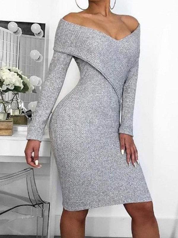 Robe Femme V-Col Manches Longues Jupe Pure Fourreau