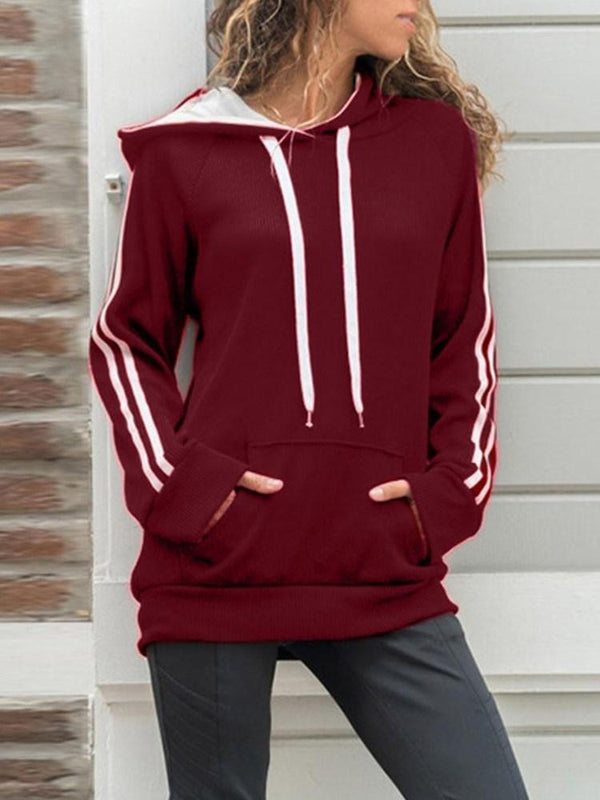 Sweat-shirt Femme Manches Raglan Rayure Automne Manches Longues