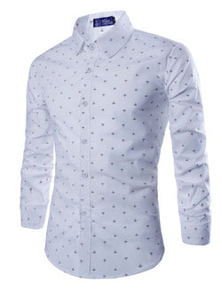 Chemise Homme Bâtiment Style Angleterre Revers Slim Automne