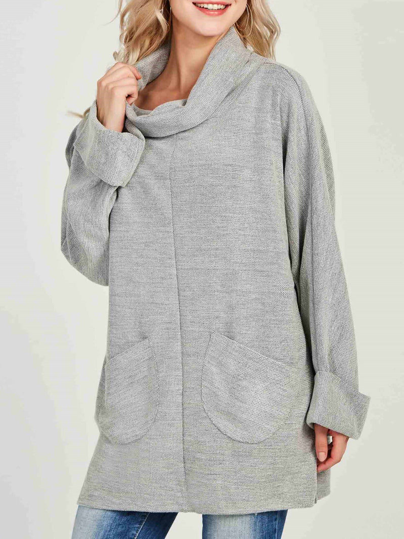 Sweat-shirt Femme Poche Pure Col Complex Mi-Longs