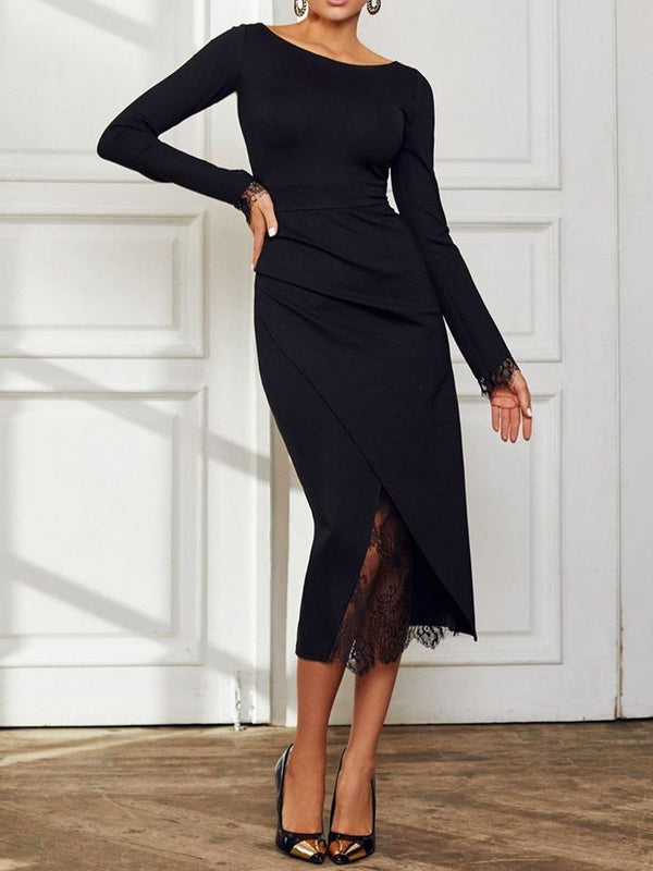 Robe Femme Manches Longues Mi-Mollet Col Rond Pure Loisir