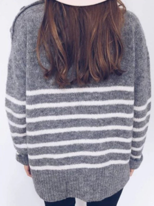 Pull Femme Bouton Standard Manches Longues Col Montant