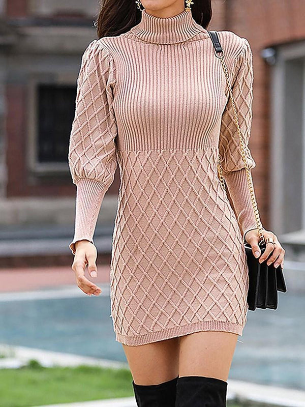Robe Femme Jupe Col Montant Manches Longues Loisir Pull